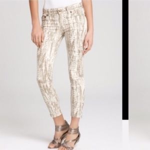 Free People Jeans - Free People Ankle-zip Feather Print Jeans